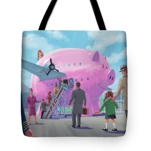 Tote Bag featuring the digital art Pig Airline Airport by Martin Davey