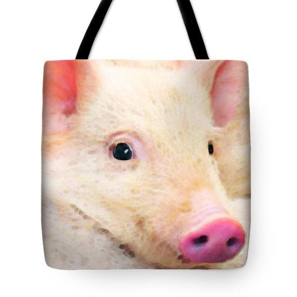 Pig Art - Pretty In Pink Tote Bag by Sharon Cummings