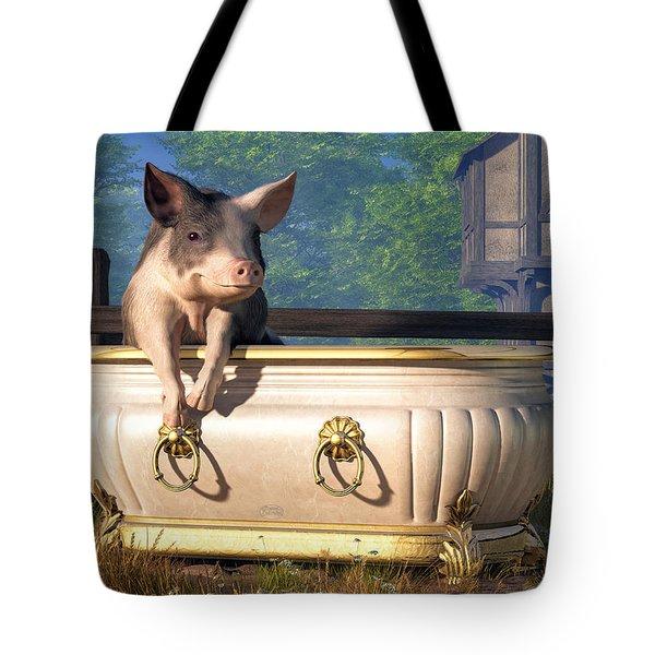 Pig In A Bathtub Tote Bag by Daniel Eskridge