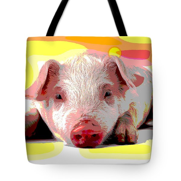 Tote Bag featuring the mixed media Pig In A Poke by Charles Shoup