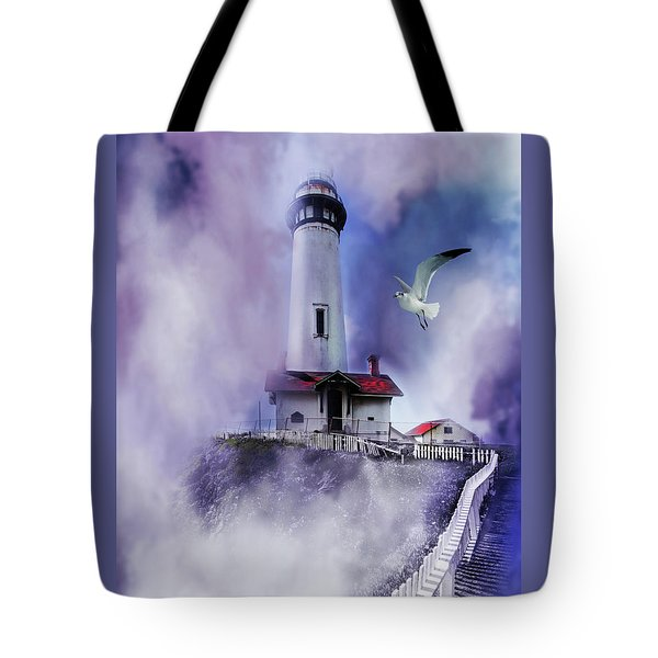 Pigeon Lighthouse With Fog Tote Bag