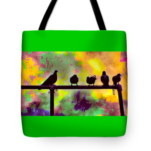 Pigeons In Abstract 2 Tote Bag