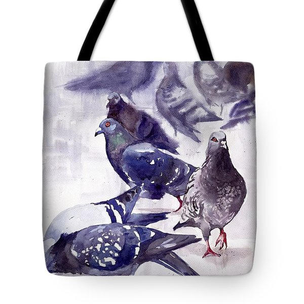 Pigeons Watercolor Tote Bag