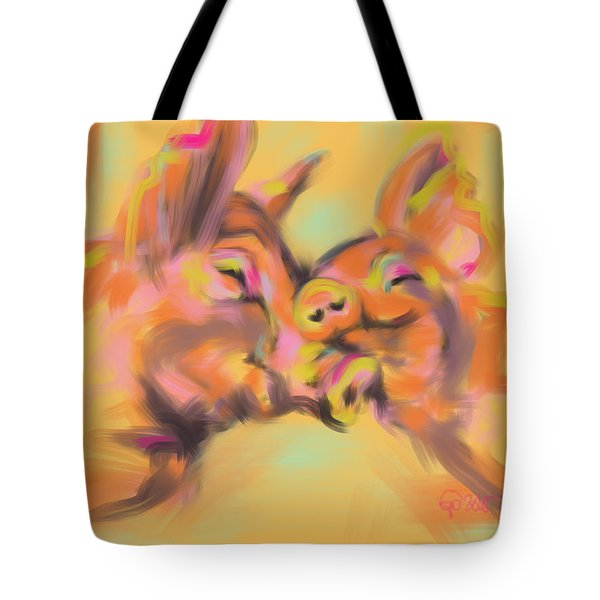 Tote Bag featuring the painting Piggy Love by Go Van Kampen