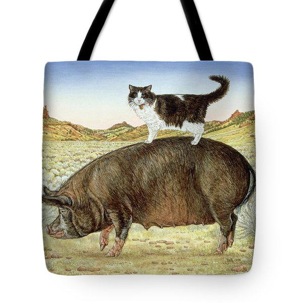 Piggyback-riding At Breteche Creek Tote Bag by Ditz
