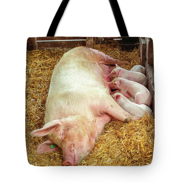 Piglet Feeding Time Tote Bag