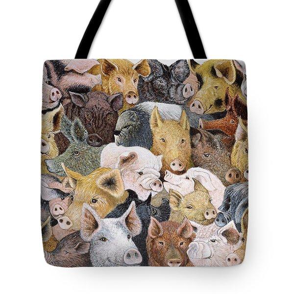 Pigs Galore Tote Bag by Pat Scott
