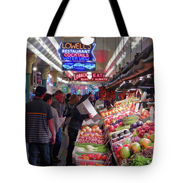 Tote Bag featuring the photograph Pike Market Fruit Stand by Walter Fahmy