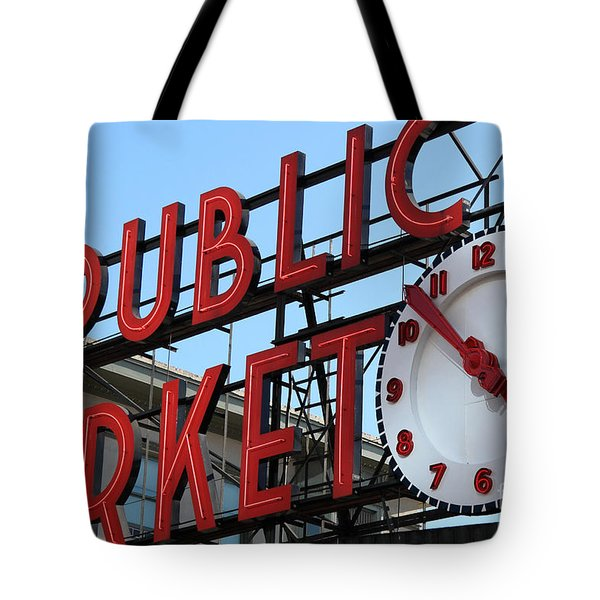 Pike Street Market Clock Tote Bag