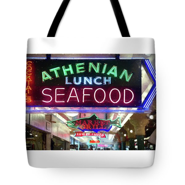 Pike Street Market Neon, Seattle Tote Bag