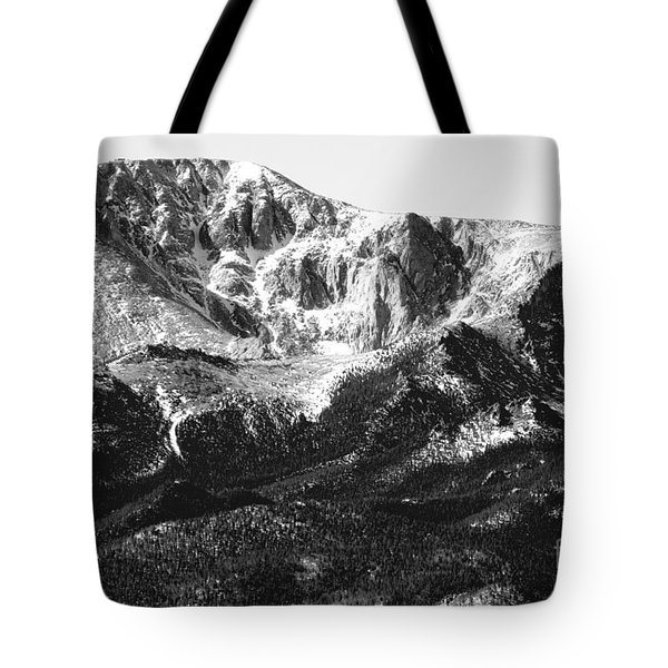 Pikes Peak Black And White In Wintertime Tote Bag