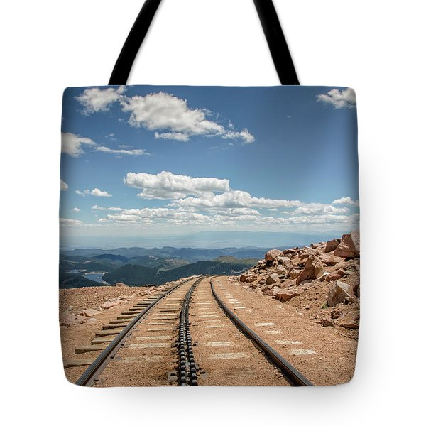 Pikes Peak Cog Railway Track At 14,110 Feet Tote Bag by Peter Ciro