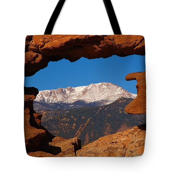 Pike's Peak Frame Tote Bag by Jon Holiday