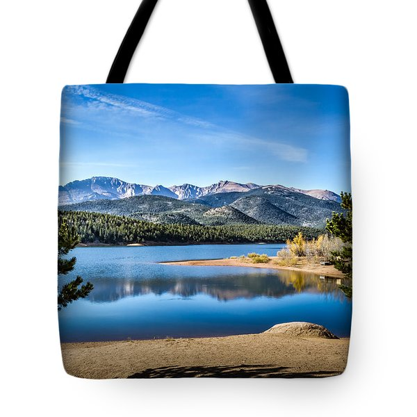Pikes Peak Over Crystal Lake Tote Bag