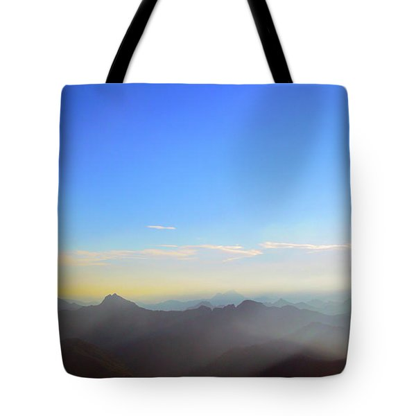 Pilchuck And Three Sisters Sunrise Tote Bag