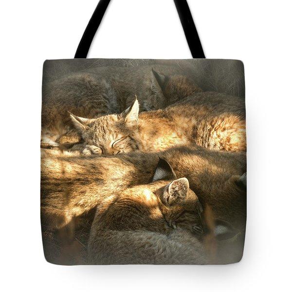 Pile Of Sleeping Bobcats Tote Bag