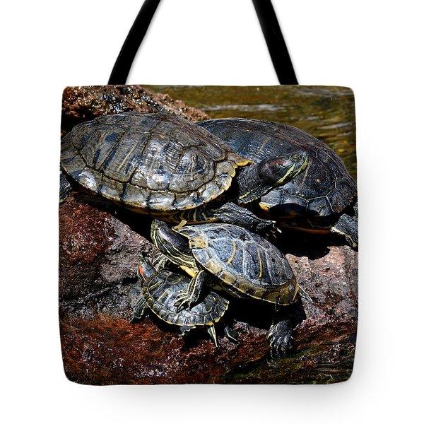 Pile Of Sliders - Turtles Tote Bag