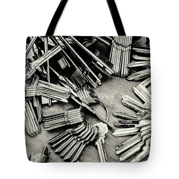 Piles Of Blank Keys In Monochrome Tote Bag