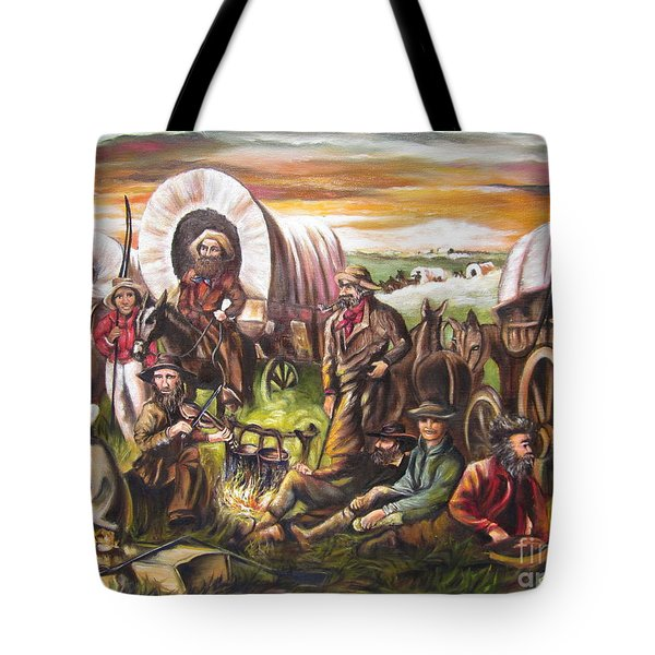 Tote Bag featuring the painting Pilgrims On The Plain by Sigrid Tune