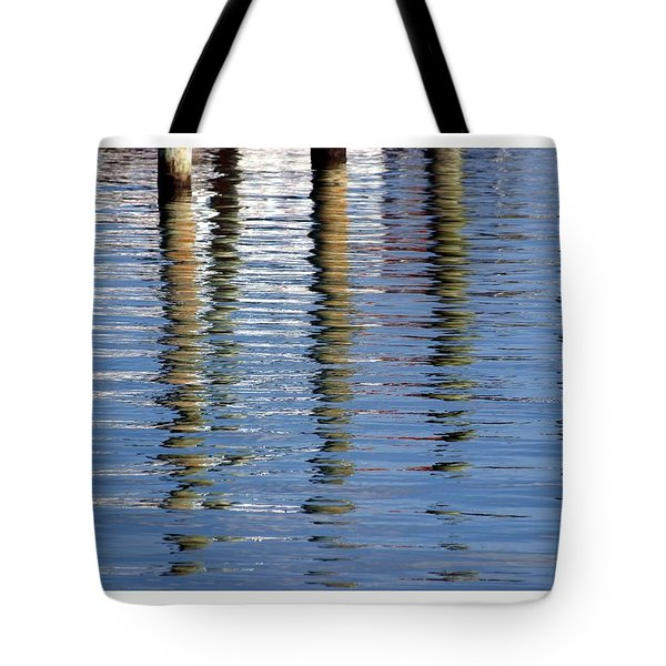 Tote Bag featuring the photograph Pilings Beaufort Nc by Phil Mancuso