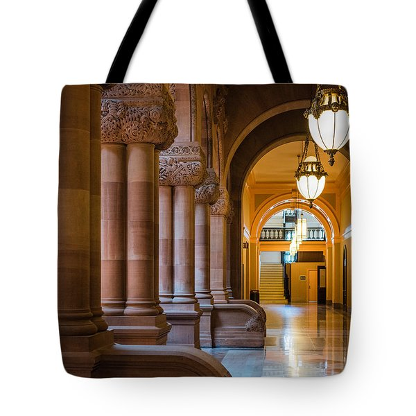 Tote Bag featuring the photograph Pillar Hallway by Brad Wenskoski