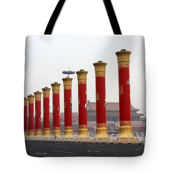 Pillars At Tiananmen Square Tote Bag by Carol Groenen