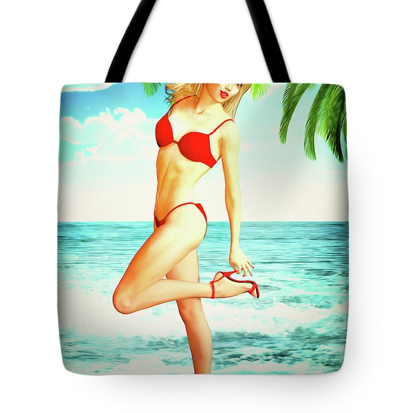 Pin-up Beach Blonde In Red Bikini Tote Bag
