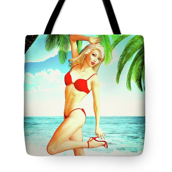 Pin-up Beach Blonde In Red Bikini Tote Bag
