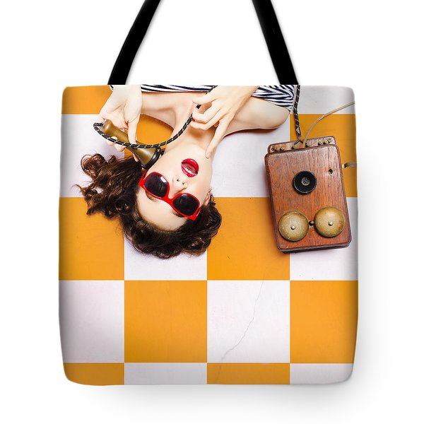 Tote Bag featuring the photograph Pin-up Beauty Decision Making On Old Phone by Jorgo Photography - Wall Art Gallery