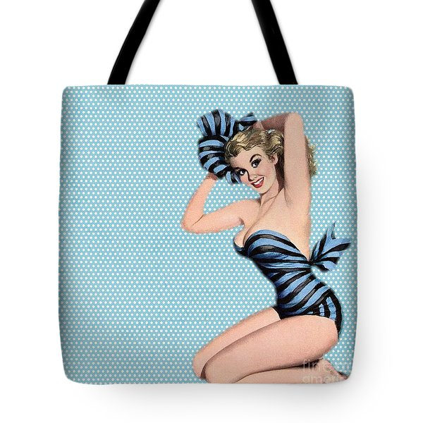 Pin Up Girl Square 2 Tote Bag by Pd
