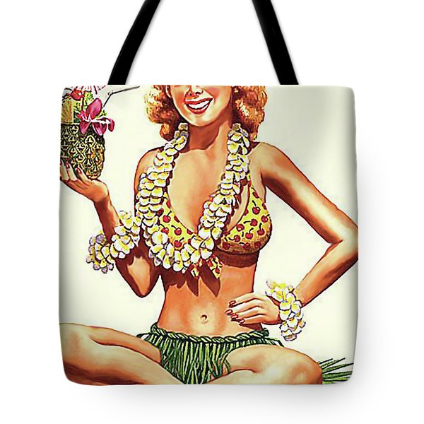 Pin Up Hula Girl With Pineapple Cocktail Tote Bag
