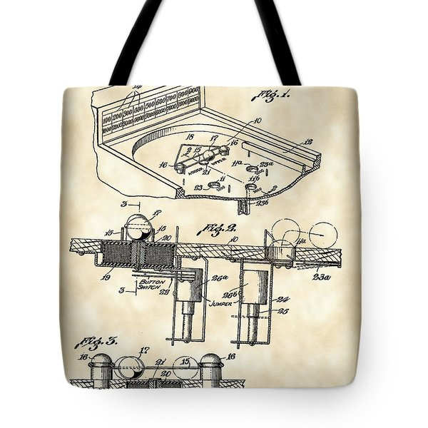 Pinball Machine Patent 1939 - Vintage Tote Bag by Stephen Younts