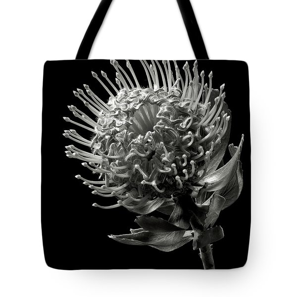 Pincushion Protea In Black And White Tote Bag