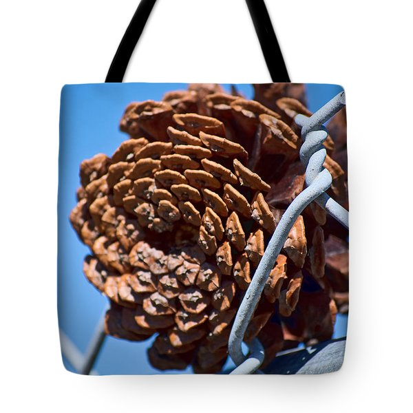 Pine Cone On The Fence Tote Bag