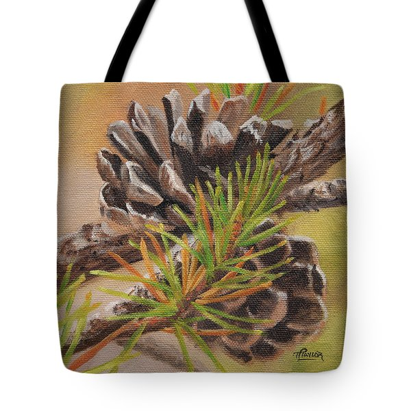 Tote Bag featuring the painting Pine Cones by Tammy Taylor