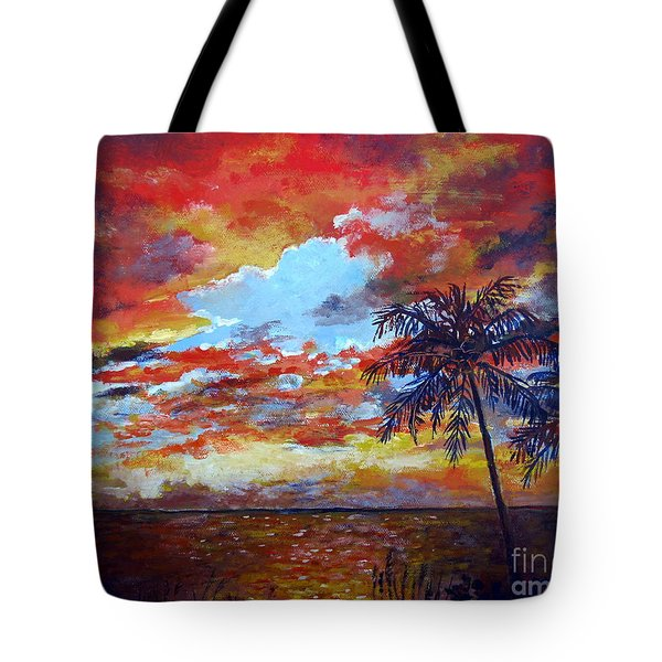 Tote Bag featuring the painting Pine Island Sunset by Lou Ann Bagnall