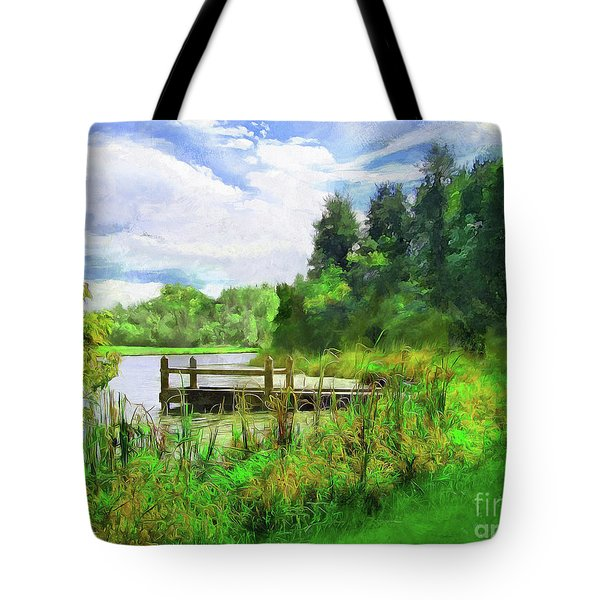Pine Lake Pier Tote Bag