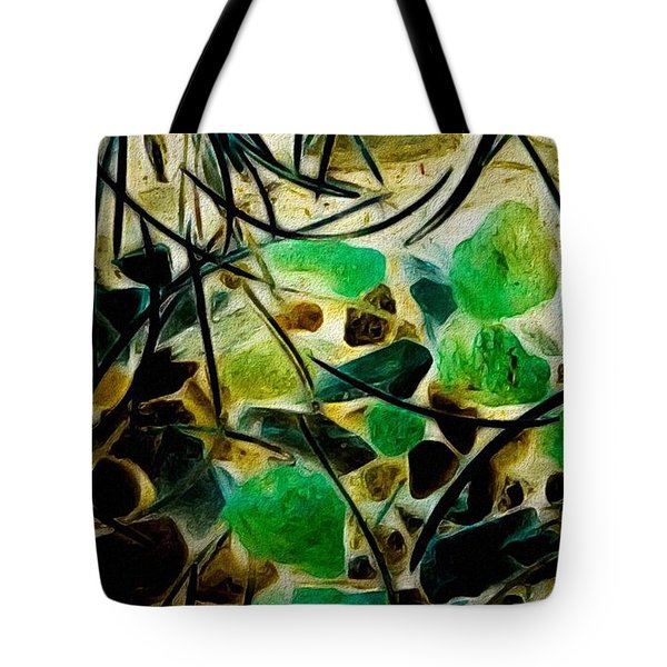 Pine Needles On Stone Tote Bag