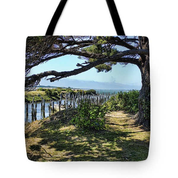 Tote Bag featuring the photograph Pine Pilings And Mist by Hugh Smith