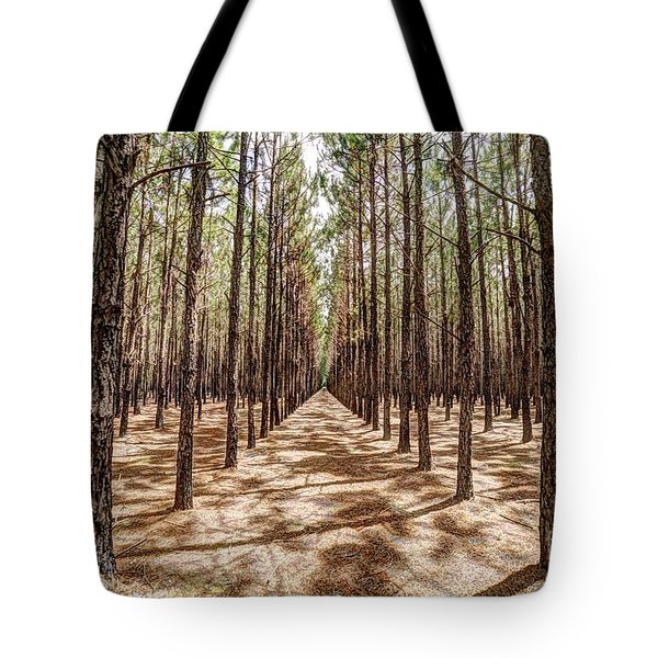Tote Bag featuring the photograph Pine Plantation Wide Color by Tommy Patterson