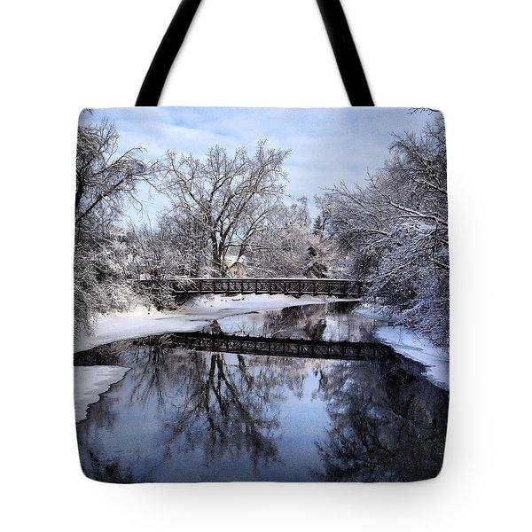 Pine River Foot Bridge From Superior In Winter Tote Bag