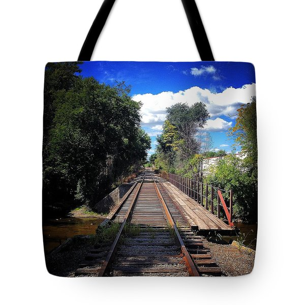 Pine River Railroad Bridge Tote Bag