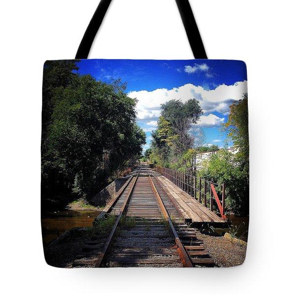 Pine River Railroad Bridge Tote Bag