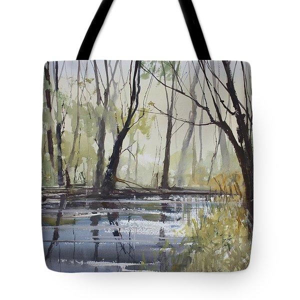 Pine River Reflections Tote Bag by Ryan Radke