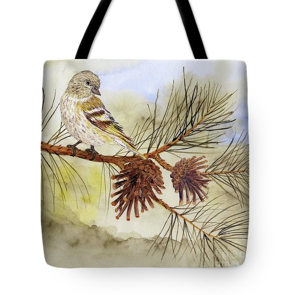 Tote Bag featuring the painting Pine Siskin Among The Pinecones by Thom Glace