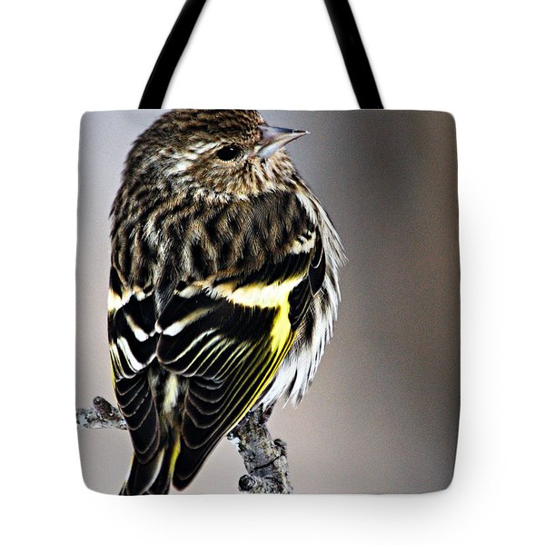 Pine Siskin Tote Bag by Larry Ricker