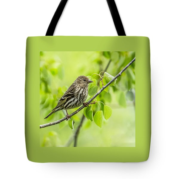 Pine Siskin On A Branch Tote Bag