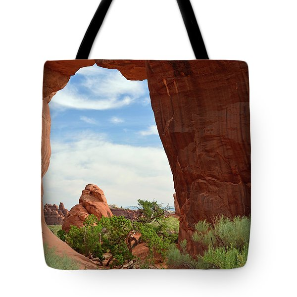 Tote Bag featuring the photograph Pine Tree Arch In Utah by Bruce Gourley