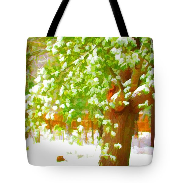 Pine Tree Covered With Snow 1 Tote Bag by Lanjee Chee