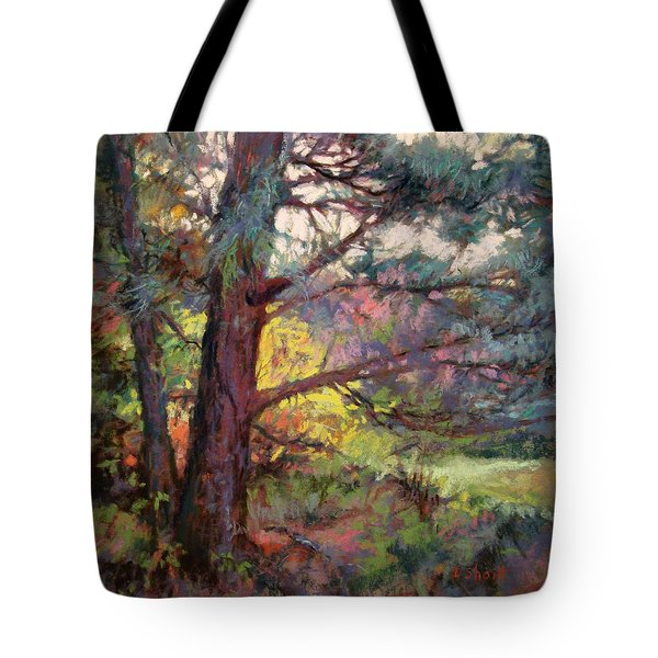 Pine Tree Dance Tote Bag by Donna Shortt